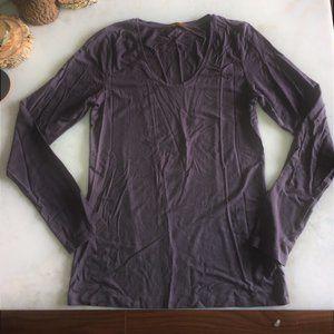 Plain / basic long sleeve shirt top greige / taupe